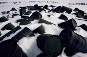 Oil drums discarded by U.S. military on the Melville Peninsula, Nunavut, Canada