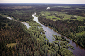 Aerial view of Canadian Shield near Hudson Bay. Canada.