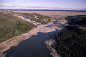 The main LG2 spillway & dam at the James Bay Hydro Complex. Northern Quebec, Canada. 1988