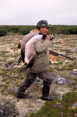 James (Jimmy) Rupert, a Cree hunter carrying geese that he has shot in the autumn. James Bay. Quebec, Canada. 1988