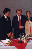 The Cree's Grand Chief presents traditional drum to the Home Minister of Quebec. Canada. 1988