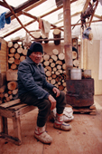 Billy Edwards, a Cree trapper, at his winter camp. Northern Quebec, Canada. 1988