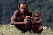 Yali man with his small son. Irian Jaya. Indonesia. 1990