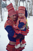Sami father and son at a wedding in traditional costume. Kautokeino, N. Norway. 1985