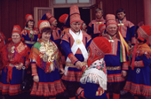 Congratulations after the marriage of a Sami couple at Kautokeino Church. Finnmark, Norway. 1985