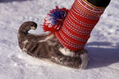 Traditional Sami shoe made from reindeer skin. Norway. 1996