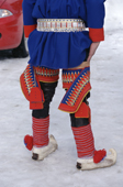 Sami youth in Kofte with decorated wings wornover reindeer skin leggings. Karasjok. Sapmi. N.Norway. 2000