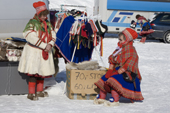 Saami women selling handicrafts at the Kautokeino Easter Festival. Finnmark, North Norway. 2007