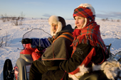 Saami reindeer herder, Nils Peder Gaup, & his wife Inge Ellen, out checking their reindeer at their winter pastures on the tundra near Kautokeino. 2007