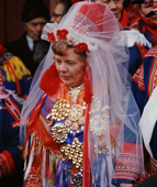 Sami bride in all her finery and traditional jewelry at her wedding. Kautokeino. Norway. 1972