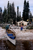 An Innu family at their autumn hunting camp on Burnwood Lake. Southern Labrador, Canada. 1997