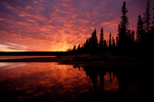 A dramatic autumn sunset at Burnwood Lake in southern Labrador, Canada. 1997