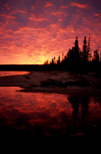 A dramatic autumn sunset at Burnwood Lake. Southern Labrador, Canada. 1997