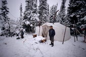 Pinip, am Innu hunter, at his autumn hunting camp in Southern Labrador,  Canada. 1997