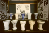 Collection of early toilets at the Gladstone Museum. Stoke on Trent. The Potteries. England
