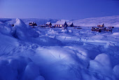 The Polar Inuit village of Moriussaq during the Polar Night. N.W. Greenland. 1980