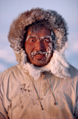 Portrait of an Inuit hunter, Ituko, frosted up at minus 30 Celsius. N.W. Greenland. 1986