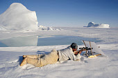 Concealed behind a white linen screen Inuit hunter, Jeremias Petersen, shoots a seal.Savissivik, NW.Greenland. 1997