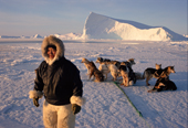 Inuit hunter,Qaerngak Nielsen, with his dog team out seal hunting near Cape York. N.W. Greenland. 1998