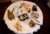A table of traditional North Greenlandic foods. Thule, N.W. Greenland. 1998