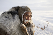 Grisha Rahtyn, a Chukchi reindeer herder, iced up at -30 C after working with his reindeer during the winter.Chukotskiy Peninsula, Chukotka, Siberia, Russia
