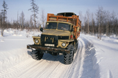 Truck on a winter road near Surinda in Evenkiya. Central Siberia. Russia. 1997
