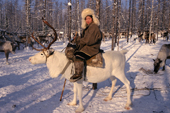 An Evenk woman riding a reindeer in the taiga. Evenkiya, Siberia, Russia. 1997