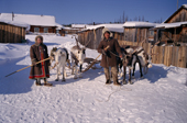 Andrei Konoriornok and his wife Marta, an Evenk couple, with their draft reindeer in the village of Surinda. Evenkiya, Central Siberia, Russia. 1997