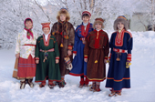 Sami women wearing replicas of traditional Kola Peninsula Sami dress. Sami Culture Centre, Lovozero. Murmansk, NW Russia. 2005