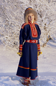 A Sami woman wearing a replica of traditional Kola Peninsula Sami dress. Sami Culture Centre, Lovozero. Murmansk, NW Russia. 2005
