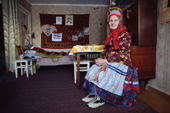 Maria Zakharova, an 82 year old Sami woman, in her apartment in Lovozero. Murmansk, Kola Peninsula, NW Russia. 2005