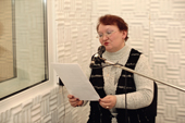 Valentina Kirillova, Sami Radio's first presenter, in the recording studio at Lovozero. Murmansk, Kola Peninsula, NW Russia. 2005