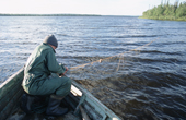 Sasha, a Sami man, checking his fishing nets near Lovozero (Strong Lake). Kola Peninsula, NW Russia. 2005