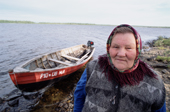 Anna Yurieva, an elderly Sami woman, at a summer fishing camp near Lovozero. Kola Peninsula, NW Russia. 2005