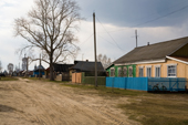 Brightly coloured houses in the village of Pogost. Ryazan Province, Russia. 2006