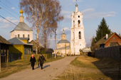 Villagers returning home after an evening church service in Pogost. Ryazan Province, Russia. 2006