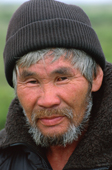 Portrait of Vassilly Solovyov, an Evenk reindeer herder. Sakhalin Island, Russian Far East.