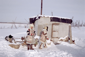 Nganasan women in traditional dress at a camp on the bank of the Kheta River. Taymyr, Northern Siberia, Russia. 2004