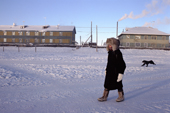 Lena Potapova walks to school in Verkhoyansk at minus 52 degrees Celsius. Yakutia, Siberia, Russia.