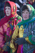 Komi women wearing traditional dress at a reindeer herders' festival at Saranpaul. Khanty-Mansiysk, Western Siberia, Russia