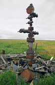 A capped well head & debris left on the tundra in Gazprom's Bovanenkova gas field. Yamal Peninsula, W. Siberia, Russia
