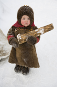 Yana Nogo, a 2 year old Komi girl helps to carry firewood at her family's winter camp. Yamal, Northwest Siberia, Russia