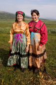 Pavla Nogo (left), a Komi woman, with her daughter, Lena, in the Polar Ural Mountains. Yamal, Western Siberia, Russia.