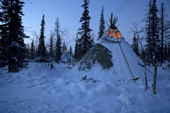 A Komi reindeer herders winter camp at dusk in the forest. Priuralsky District, Yamal, NW Siberia.