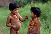 Mentawai children. Siberut Island, Indonesia.