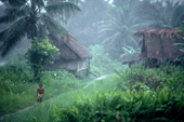Mentawai boy and Matotonan village in mist. Siberut. Indonesia.