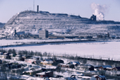 Slag heap from Iron Ore mining at the industrial town of Kiruna. Sweden.