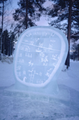 Ice sculpture of a shaman's drum outside the Atje Museum. Jokkmokk. Sweden
