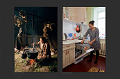 (left) Valla Serotetto, a teenage Nenets girl photographed while cooking at a reindeer herder's camp in 1993. (Right) Valla photographed in 2017  unloading the dishwasher at her home in Yar-Sale. Yamal, Northwest Siberia, Russia