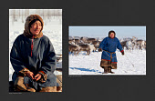 (left) Sergey Serotetto, a Nenets reindeer herder, photographed in 1993. (Right) Sergey photographed in 2019 walking amongst his family's reindeer. Yamal, Northwest Siberia, Russia